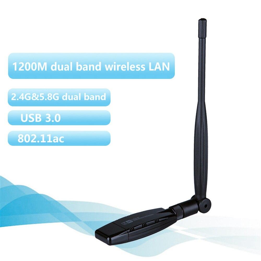 Kuwfi 1200 Мбит Dual Band USB 3.0 WI-FI ключ Беспроводной WI-FI Адаптер 2.4 ГГц 5 ГГц сетевой карты с Телевизионные антенны