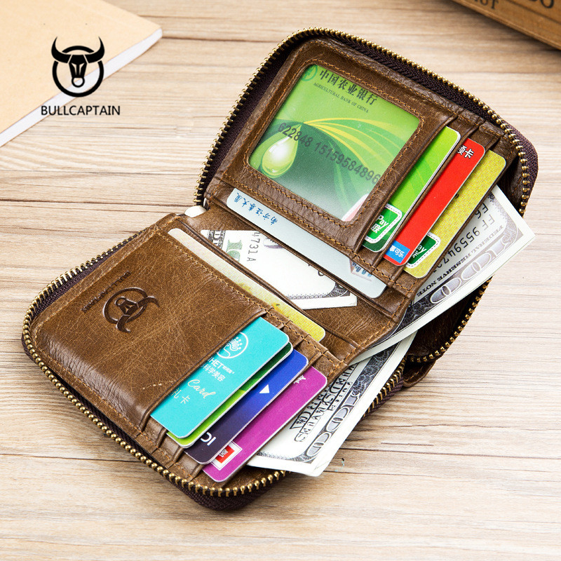 Купить с кэшбэком BULLCAPTAIN  Genuine Leather Men Wallet Small Men Walet Zipper & Hasp Male Portomonee Short Coin Purse Brand Perse Carteira Gift