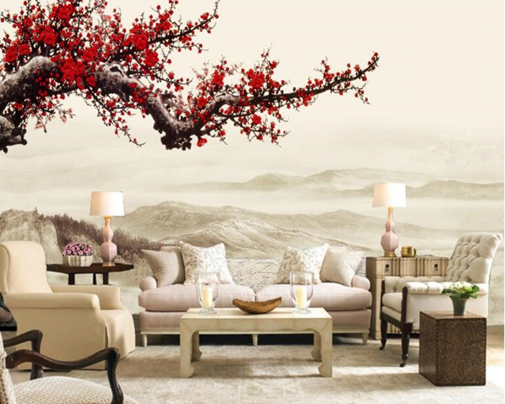 Wall papers home decor,Red Plum Blossom Chinese style 3d wallpaper,restaurant living room tv sofa wall bedroom mural wallpaper free shipping 3d cartoon graffiti mural living room sofa background wall coffee house tv restaurant bar wallpaper mural