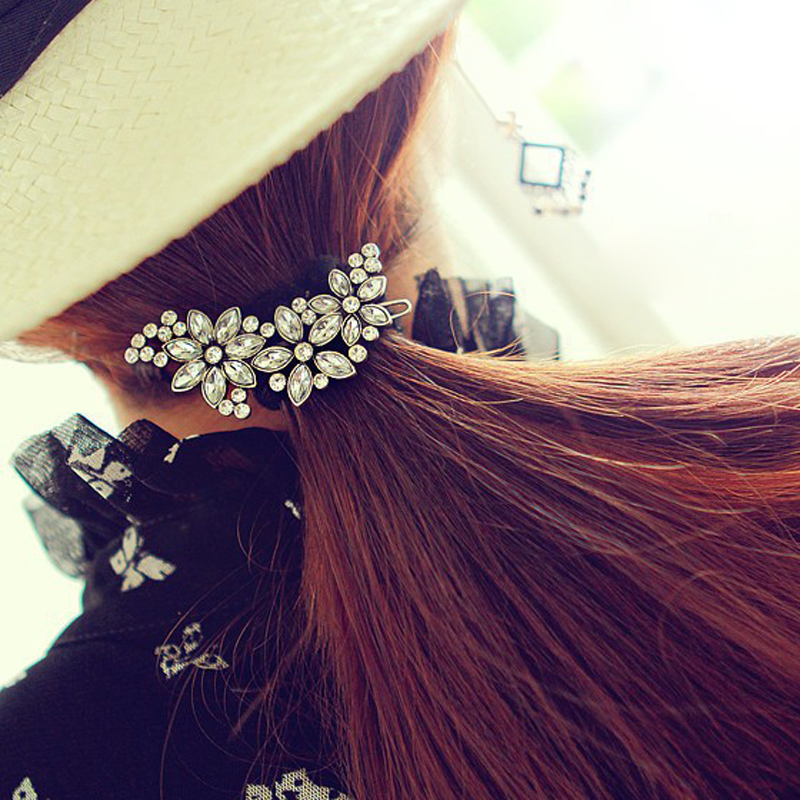 1PCS Fashion Girls Elegant Flower Hairpins Hair Barrettes Clip Crystal Hair Clips For Women Hair Accessories  Headwear Hair Pins 1 pcs lot women crystal beads hairband awaytr new black side flower hair band headband for girls 2017 korean style headwear