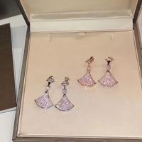 Hot Brand Pure 925 Sterling Silver Jewelry For Women Full Stone Fan Earrings Diva Dream Party