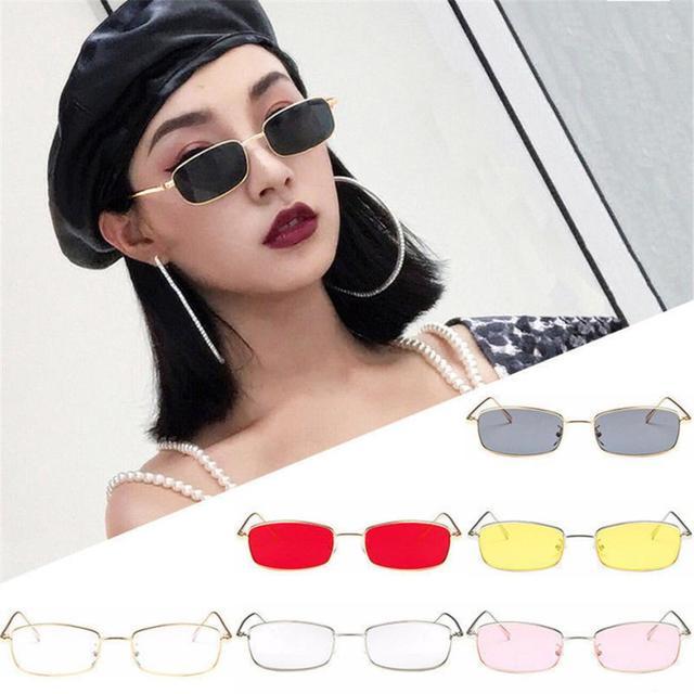 3178052d5a4  5 2018 NEW Fashion Vintage Glasses Women Man Square Shades Small  Rectangular Frame Sunglasses Free ship