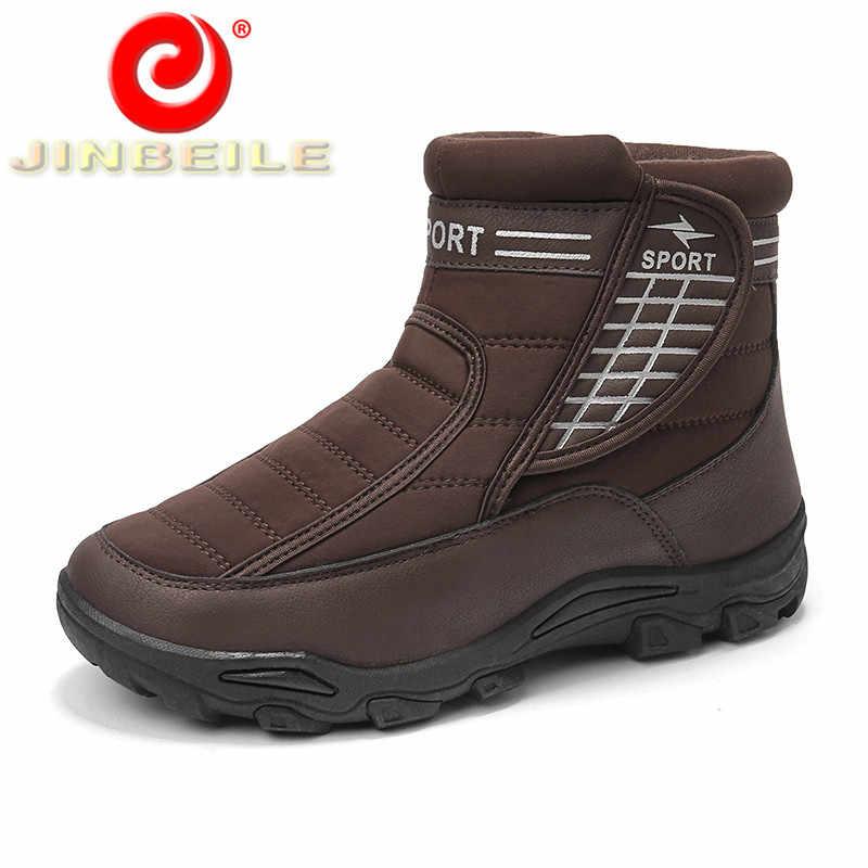 2d3ee33bb JINBEILE зимняя хлопковая походная обувь для мужчин, сохраняющая тепло,  нескользящая, уличная спортивная обувь