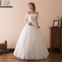 Off The Shoulder Ball Gowns Half Sleeves Wedding Dress Floor Length Embroider Lace Applique Bridal Gown