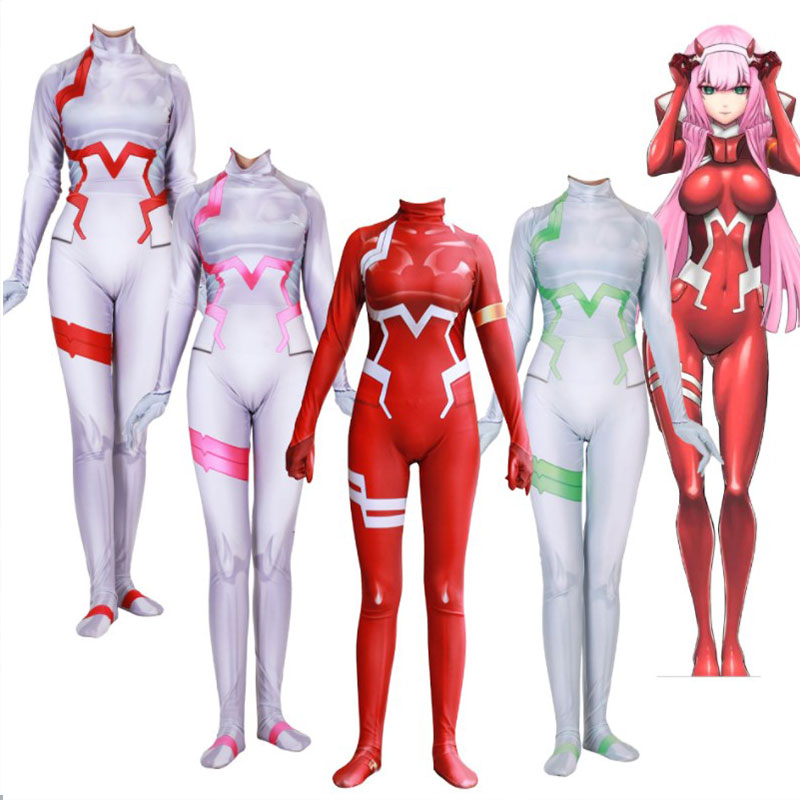 2019 new cosplay darling in the frankxx 02 Zero Two cosplay Siamese tights Custom tights girl cosplay cotsume Posting in Movie TV costumes from Novelty Special Use