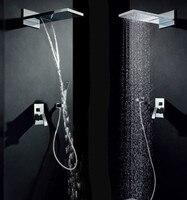 Форсунка для ванной под давлением Скрытая душевая головка ультра тонкая латунная Душевая система термостатическая дождевая душевая хроми