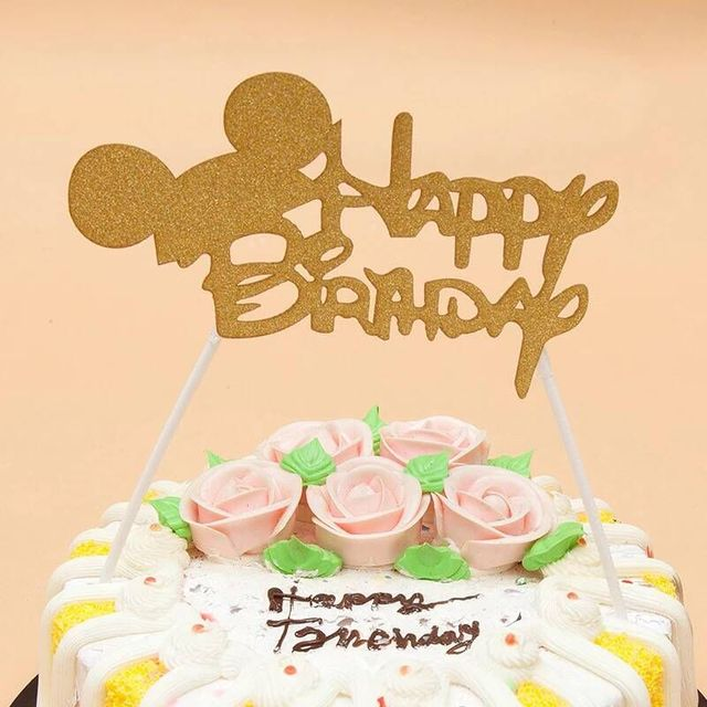 1pc Mickey Mouse Happy Birthday Cupcake Cake Topper Cake Flags Kids ...