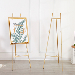 Goldene Staffelei Hochzeit Bankett Staffelei Caballete De Pintura Metall Bild Stehen Foto Display Rahmen Nordic Stil Öl Malerei Stehen