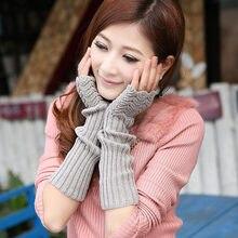 10d050cf4565f4 1 Para Mode Herbst Winter Frühling Warme Frauen Damen Mädchen Feste Arm  Warmer Lange Halbhand Stricken Wolle Handschuhe