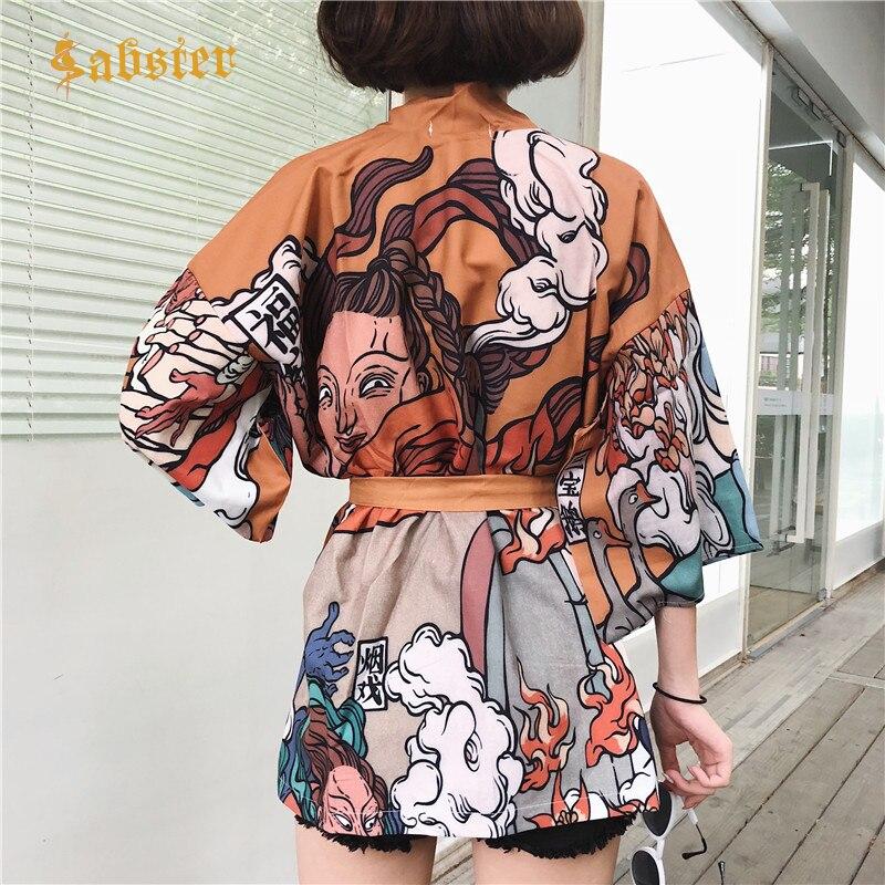 2018 Summer Vintage Fashion Shirt Japanese Harajuku Vintage Female Cardigan Ulzzang Kawaii Graphic Oversized Tops Kz570
