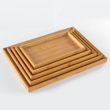 New bamboo saucer tray rectangle plate of solid wood small pot tray kung fu tea tray Tea Table