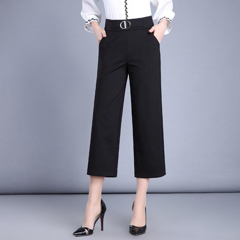 High Waist Straight Pants 2018 Spring Summer Wide Leg Elastic Waist Workwear Trousers Women Black Office Ladies Pants Quality