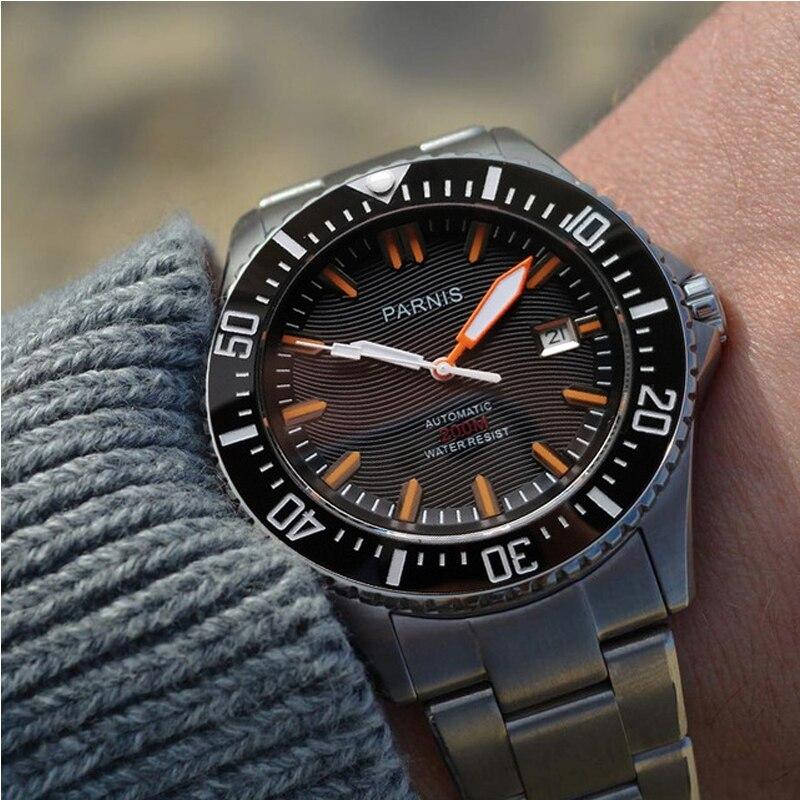 Parnis Automatic Diver Watch Waterproof 200m Metal Mechanical Men's Watches Sapphire Glass Mekanik Kol Saati Relogio Automatico
