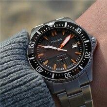 Parnis automatyczny zegarek dla nurka wodoodporny 200m metalowe mechaniczne męskie zegarki szafirowe szkło mekanik kol saati relogio automatico