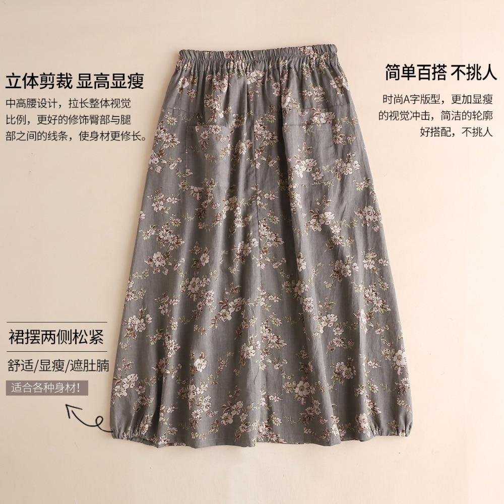 Oscuro Mujeres Elástico Verano Cómodo Faldas fósforo Todo Del Vestido gris De Lino Marrón Las Impresión Floral EE1qZ0