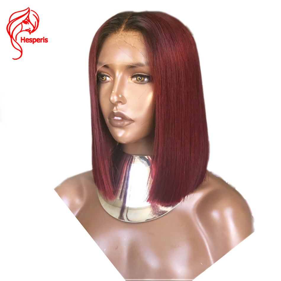 Hesperis Ombre Lace Front Wig Short Red Human Hair Bob Wig For Women 130 Pre Plucked