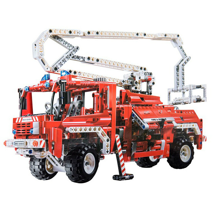 Model building kits compatible with lego city rescue fire truck 3D blocks Educational model building toys hobbies for children 605pcs city scaling ladder fire engines rescue truck 3d firefighter 908 model building blocks children toys compatible with lego