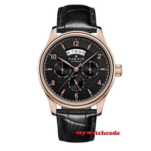 лучшая цена 42mm parnis black dial date window 26 jewels miyota Automatic mens Watch P575