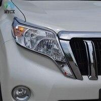 Toyota Land Cruiser için araba aksesuarları Prado FJ150 FJ 150 2014-2017 için ABS krom ön far lambası kapak Trim dekorasyon 2 adet