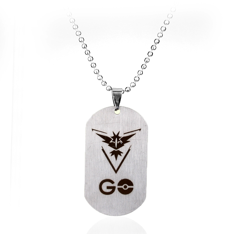 Game Anime Steel Dog Tag GO Necklace Three Camp Valor Mystic Instinct Signs Necklace 3 d ...