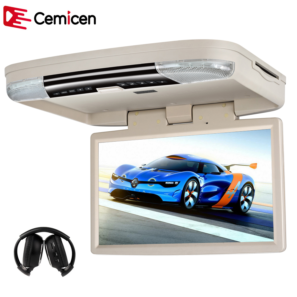 Cemicen 15 6 Inch Car Mount Monitor Roof Flip Down DVD Player HD 1080P Video With