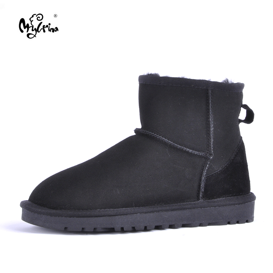 MYLRINA Top Quality Women Snow Boots Warm Winter Boots Genuine Sheepskin Leather 100% Natural Fur Women Boots Ankle Shoes top quality fashion women ankle snow boots genuine sheepskin leather boots 100% natural fur wool warm winter boots women s boots