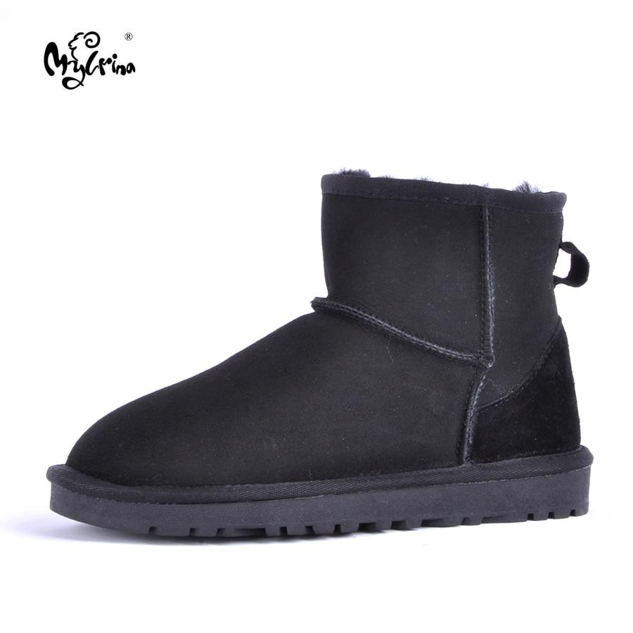 купить MYLRINA Top Quality Women Snow Boots Warm Winter Boots Genuine Sheepskin Leather 100% Natural Fur Women Boots Ankle Shoes онлайн