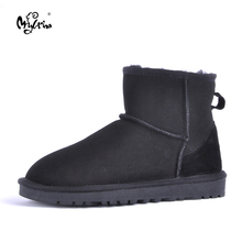 MYLRINA Top Quality Women Snow Boots Warm Winter Boots Genuine Sheepskin Leather 100% Natural Fur Women Boots Ankle Shoes