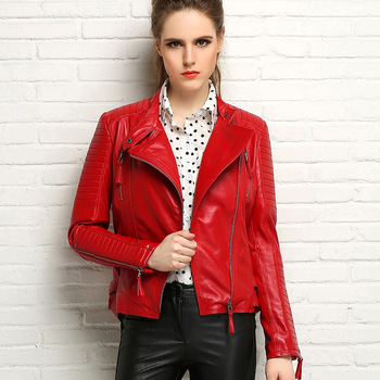 Envío libre, cuero genuino del estilo de la manera adelgazan las chaquetas. street negro mujer oveja 100% chaqueta marca, biker