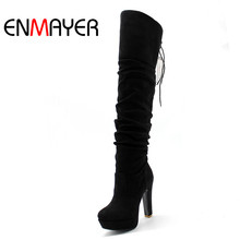 ENMAYER  big size34-43 high Over-the-Knee boots for women Flock Tassel ladies long sexy winter shoes