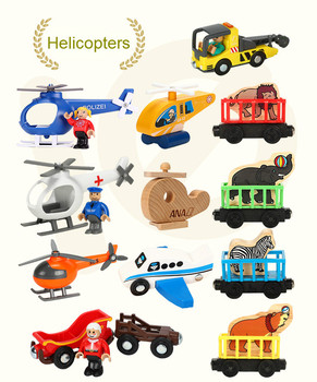 EDWONE Wood Magnetic Train Plane Wood Helicopter Chrismas Car Accessories Toy For Kids Fit Wood thoma s Biro Tracks Gifts image