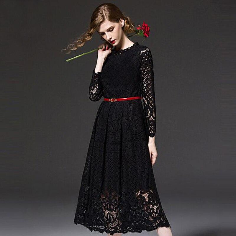 Haute qualité 2017 femmes bohème dentelle printemps automne robe Crochet décontracté manches longues grande taille femmes robe vêtements