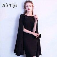 It's YiiYa Simple Little Black Full Cap Sleeve Cloak Zipper Cocktail Dresses A line Knee Length Formal Dress Party Gown LX404