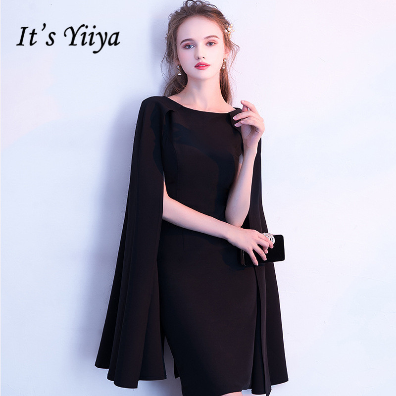 It's YiiYa Simple Little Black Full Cap Sleeve Cloak Zipper Cocktail Dresses A line Knee Length Formal Dress Party Gown LX404