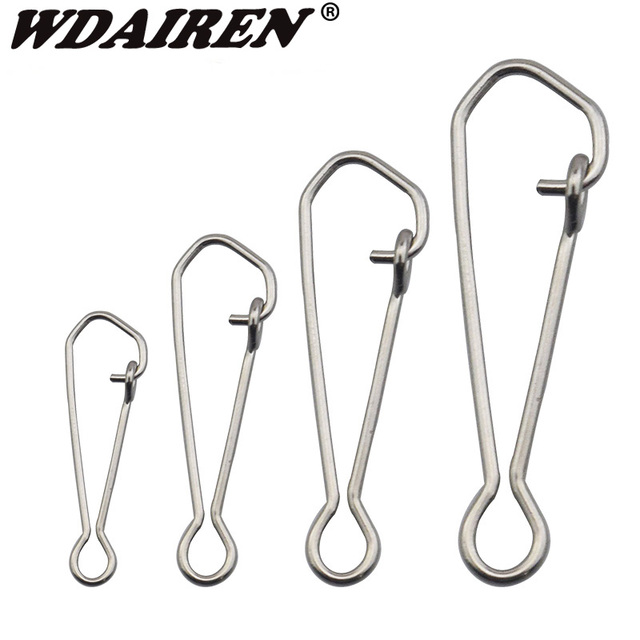 100pcs/lot Safety Snaps Fishing Swivel Hook Connector Stainless Steel Hook Lock Snap Swivels Solid Rings WD-026