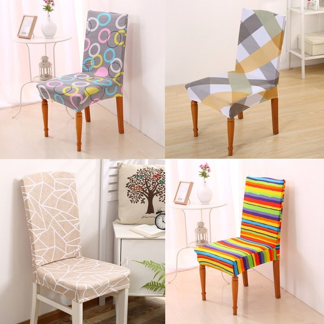 1Pcs Stripes Pattern Chair Cover Removable Dining Room Seat Decor Stretch