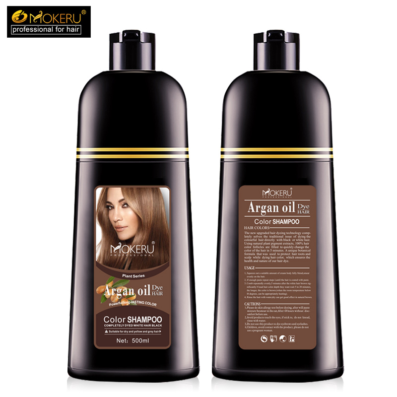 Image 5 - 1pc 500ml Mokeru organic hair dying good effect long lasting argan oil hair dye shampoo for cover gray hair-in Hair Color from Beauty & Health