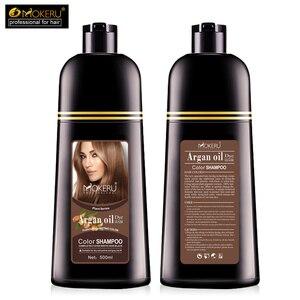 Image 5 - 1pc 500ml Mokeru organic hair dying good effect long lasting argan oil hair dye shampoo for cover gray hair
