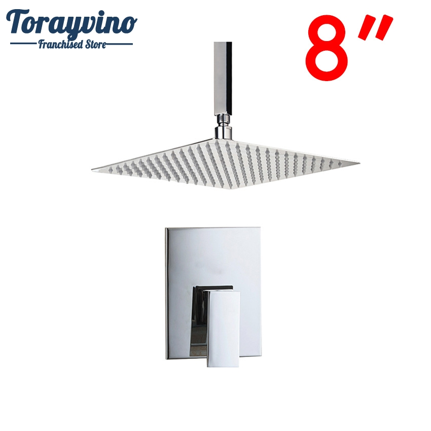 Torayvino Bathroom Ceiling Mount 8 Ultra-thin Rainfall Shower Head&Control Valve Wall Mounted Hot&Cold Water Mixer Shower Set