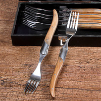 Nature Wood Handle Forks Foldable Tableware Set Stainless Steel Collapsible Dinner Steak Fork With Gift Box Dinnerware 6pcs/Set