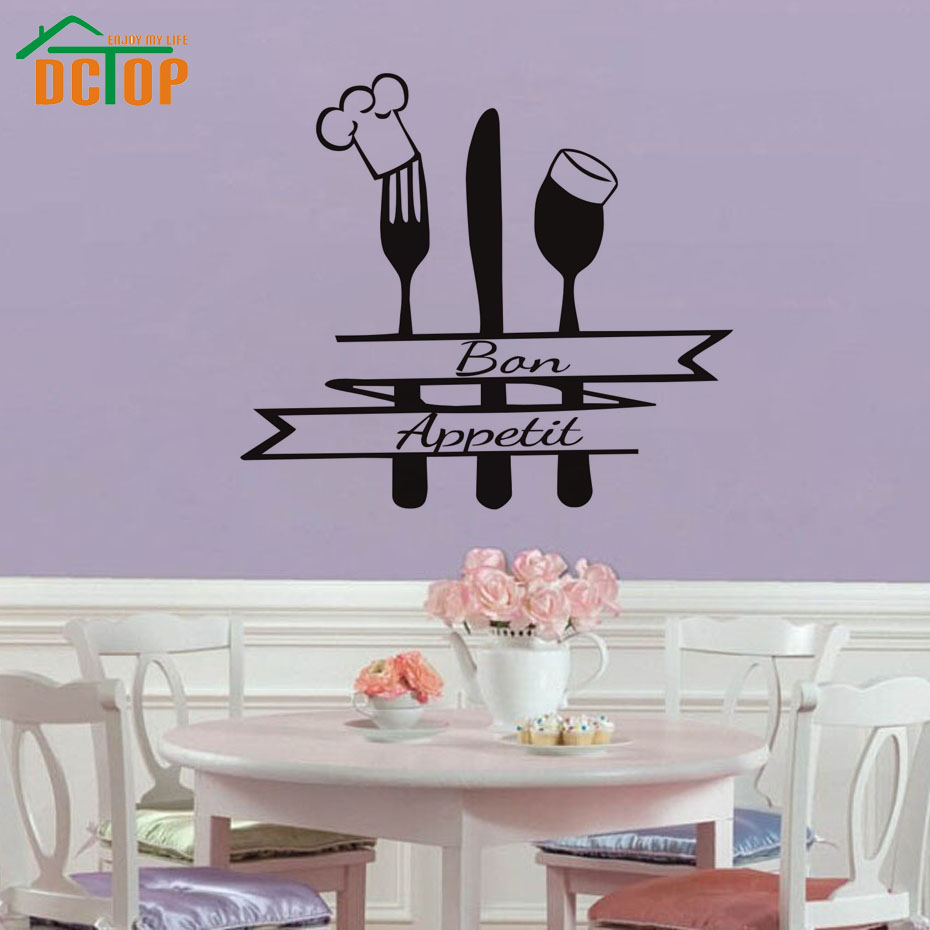 online get cheap french kitchen decoration aliexpress com french bon appetit quote wall sticker kitchen cutlery chef hat home decor wall decals black