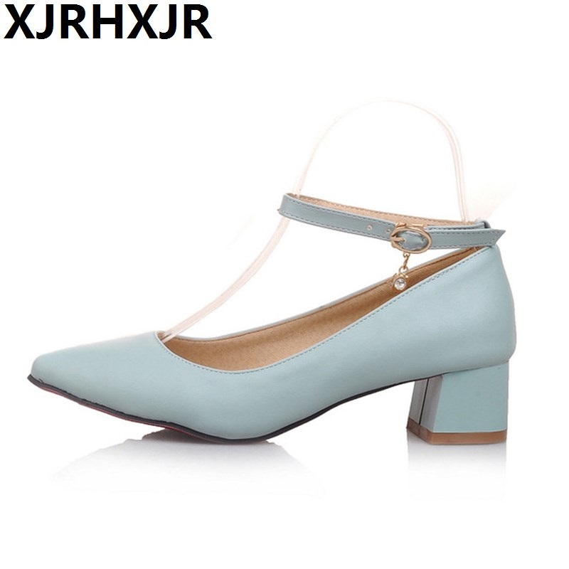XJRHXJR Sexy Pointed Toe Low-heel Ankle Strap Outfit All-match Single Work Shoes Women Thick Heel Fashion Casual Shoes Gladiator pu pointed toe flats with eyelet strap