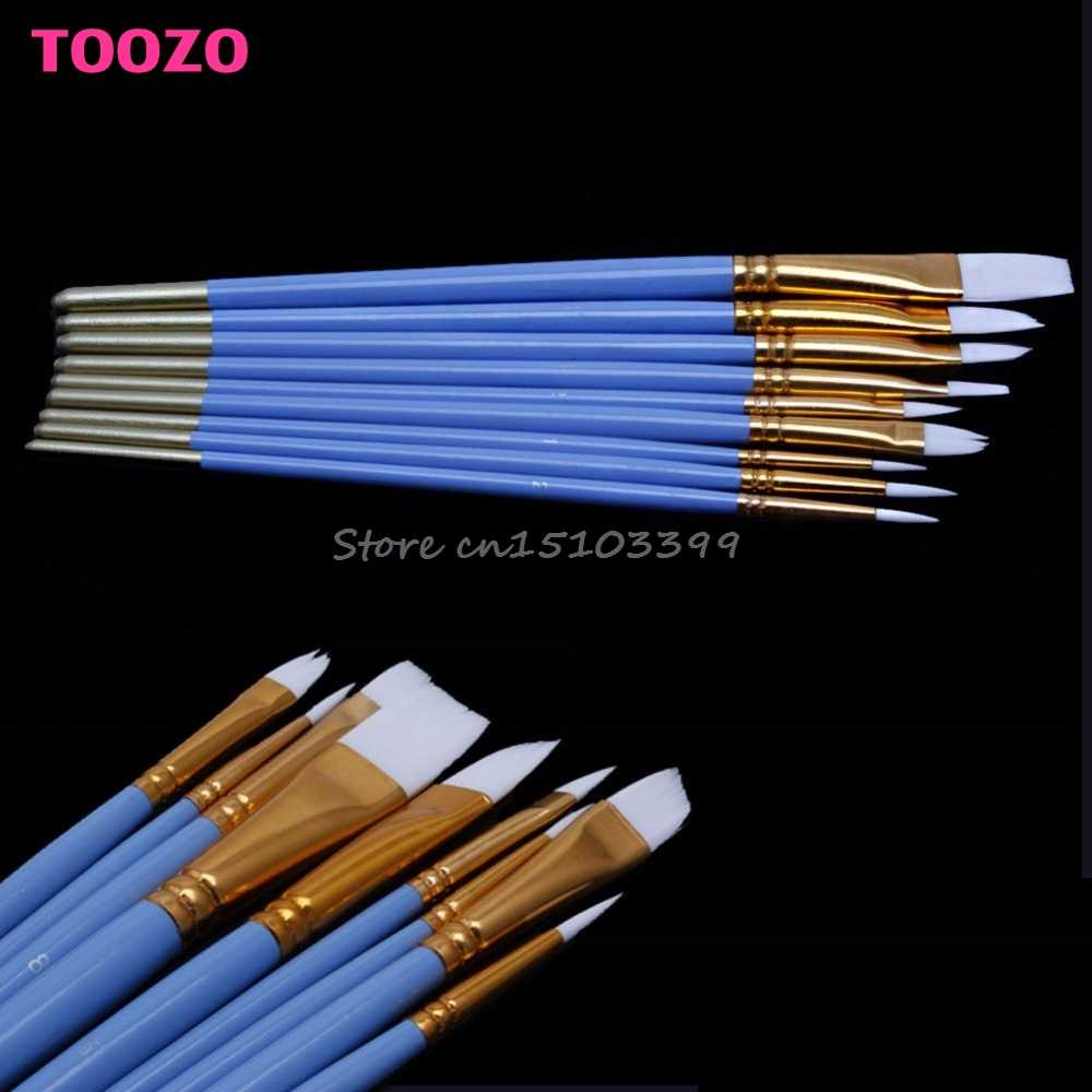10Pcs Blue Gouache Watercolor Oil Painting Nail Art Pen Nylon White Hair Brushes G08 Drop ship