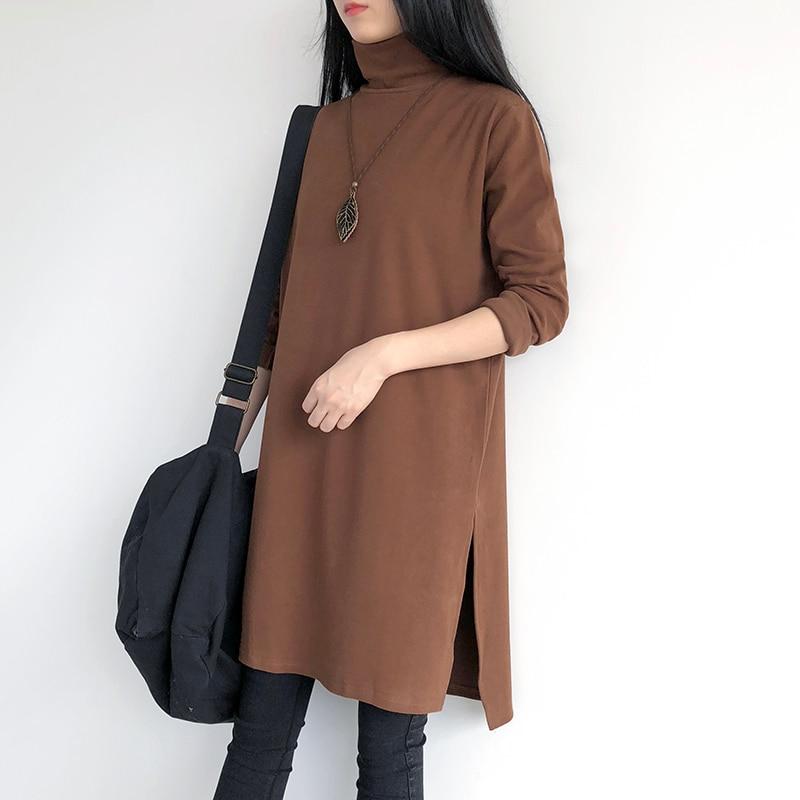 T-shirt coton décontracté tricoté nouveau Style manches longues tissu solide Tnicken col roulé femmes Base chemise