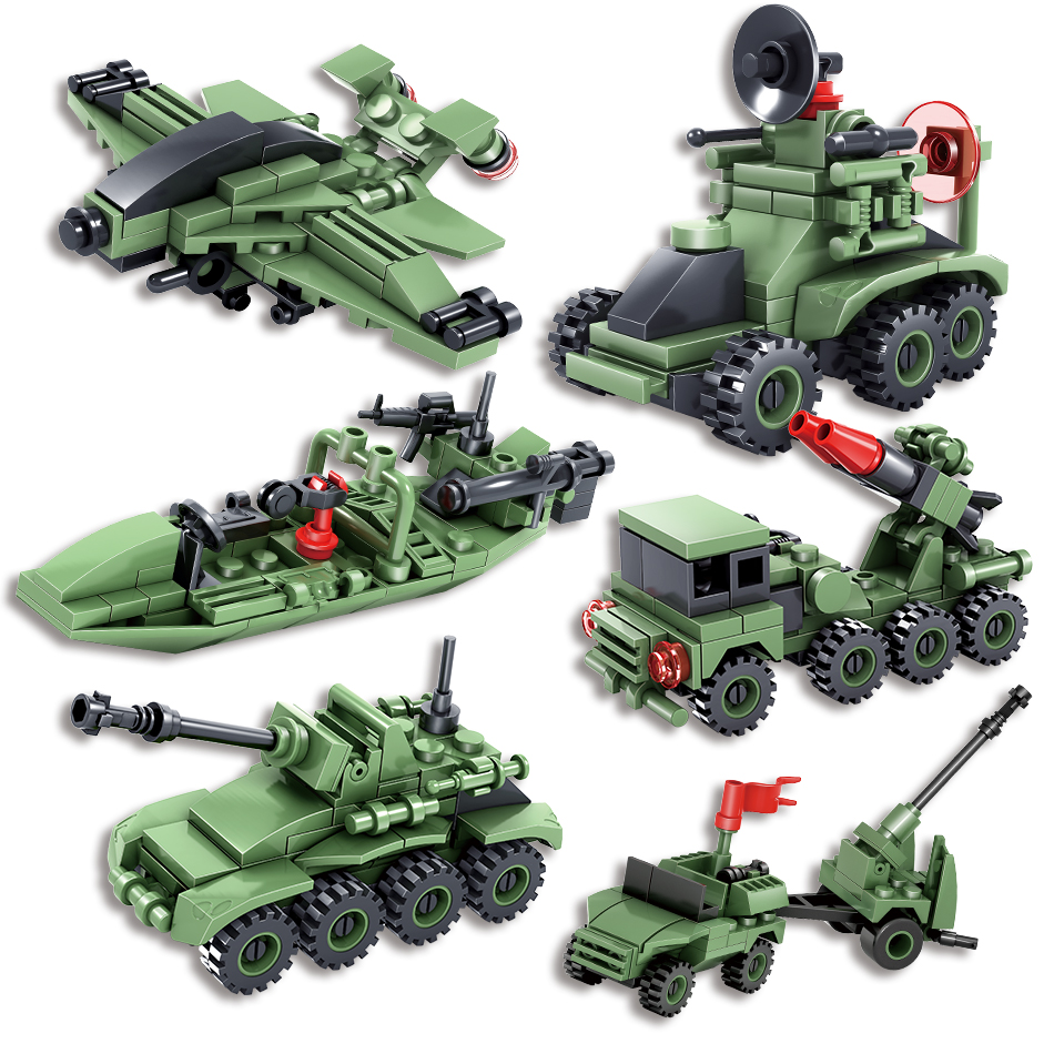 KAZI 363+pcs 6 Styles Military weapon Serie Car Helicopter Building Block Toys compatible legoed Technic City army Car bricks