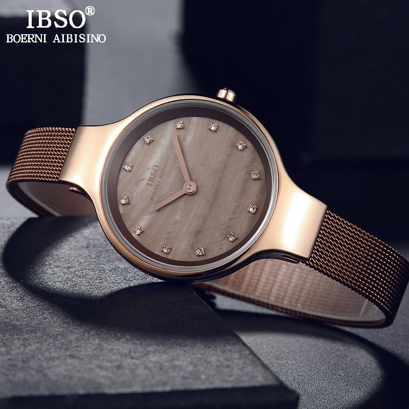 IBSO Brand Luxury Shell Dial Female Watches Fashion Stainless Steel Mesh Strap Wrist Watch Ladies Crystal Design Quartz