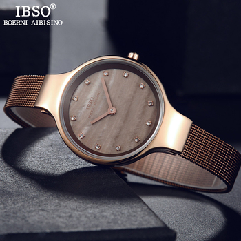 6abb1f8fb0d0a IBSO marque de luxe Shell cadran femmes montres de mode en acier inoxydable  maille bracelet montre-bracelet dames cristal conception Quartz montre