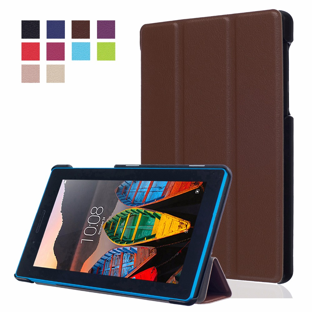 Fashion Hot 3 fold PU Leather Stand Tablet Case Protective Cover for Lenovo Tab3 7 TB3-730X TB3-730F TB3-730M 7'' inch cover pu leather cover for lenovo tab3 tab 3 7 plus 7703 7703x colorful print stand case tb 7703x tb 7703f 7 inch tablet cases gift