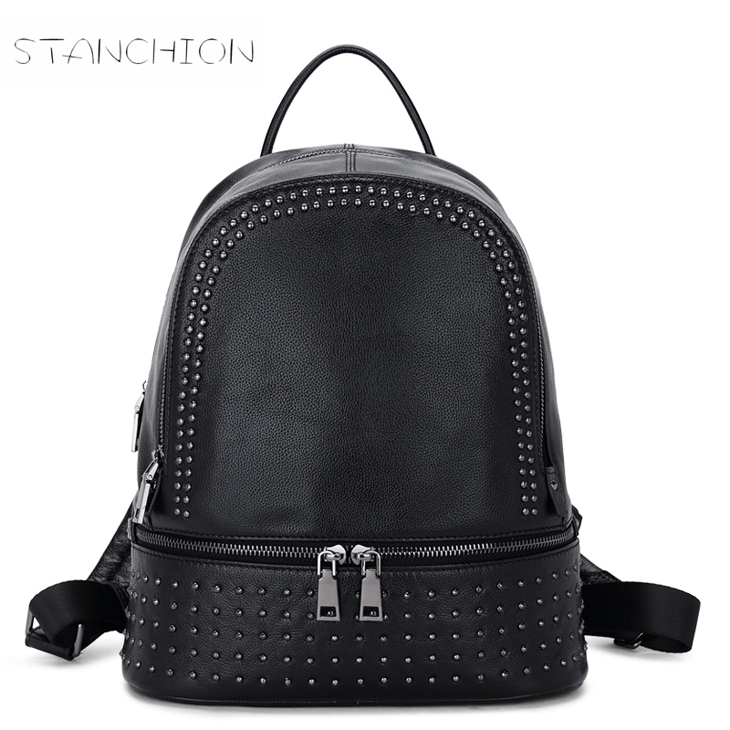 Фотография Backpack PU Leather Women Daily Portable Multifunctional Rucksack Embossing Rivet Shoulder School Bag Ladies Travel Bag
