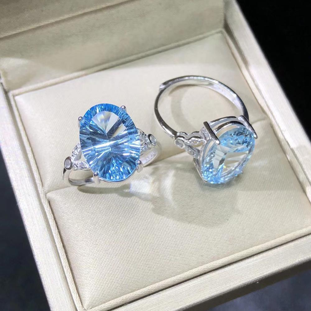 Bague en pierre de topaze bleue BB en argent Sterling 925 bague en pierre naturelle bague de fiançailles pour femmes